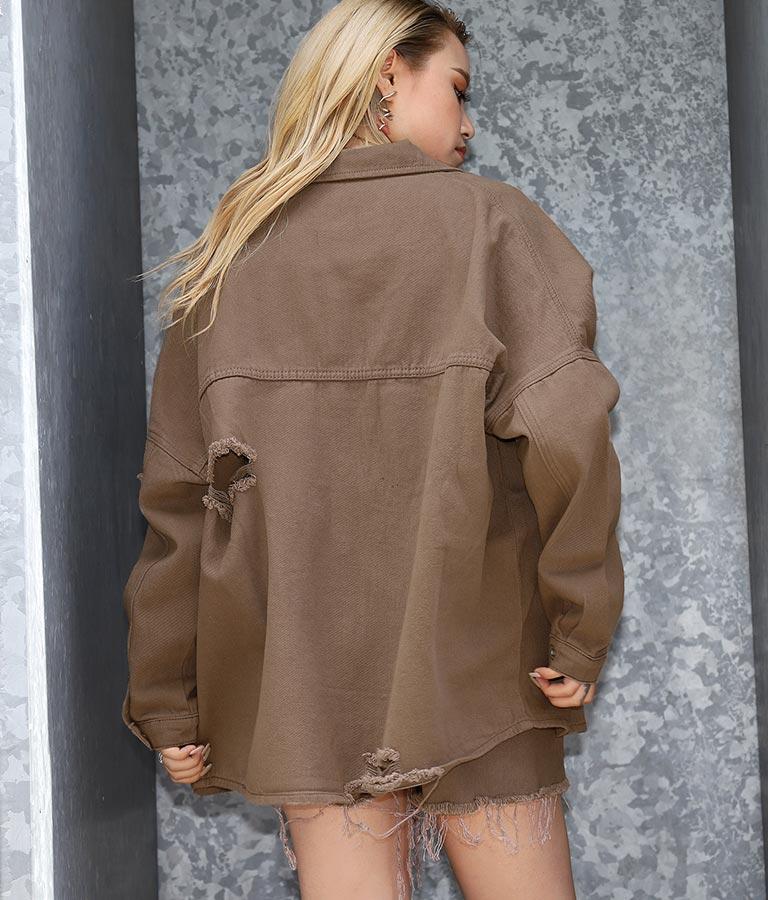 ダメージツイルオーバーサイズシャツ(トップス/シャツ・ブラウス) | ANAP