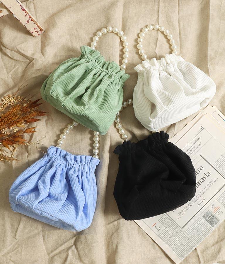 パールハンドル巾着バッグ
