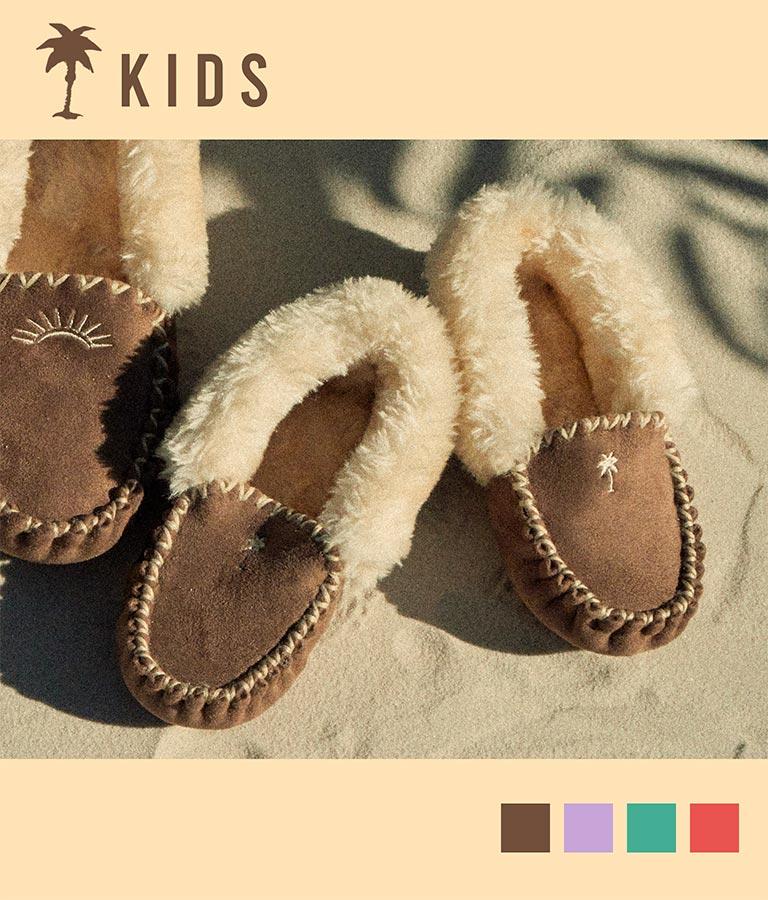 【KIDS】パームツリー刺繍モカシンシューズ