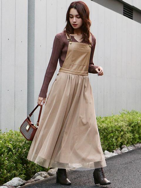 レザー×チュールデザインジャンパースカート