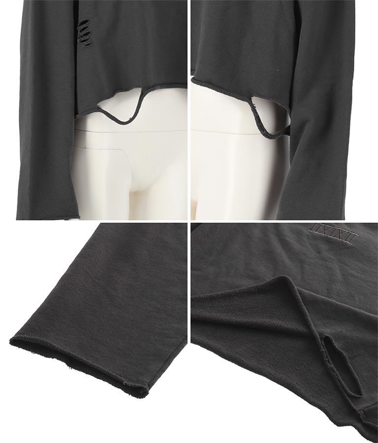 刺繍ダメージクロップド裏毛トップス(トップス/スウェット・トレーナー) | ANAP