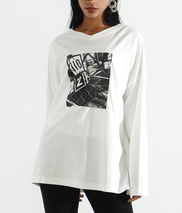 モノトーンプリント2WAYロングTシャツ