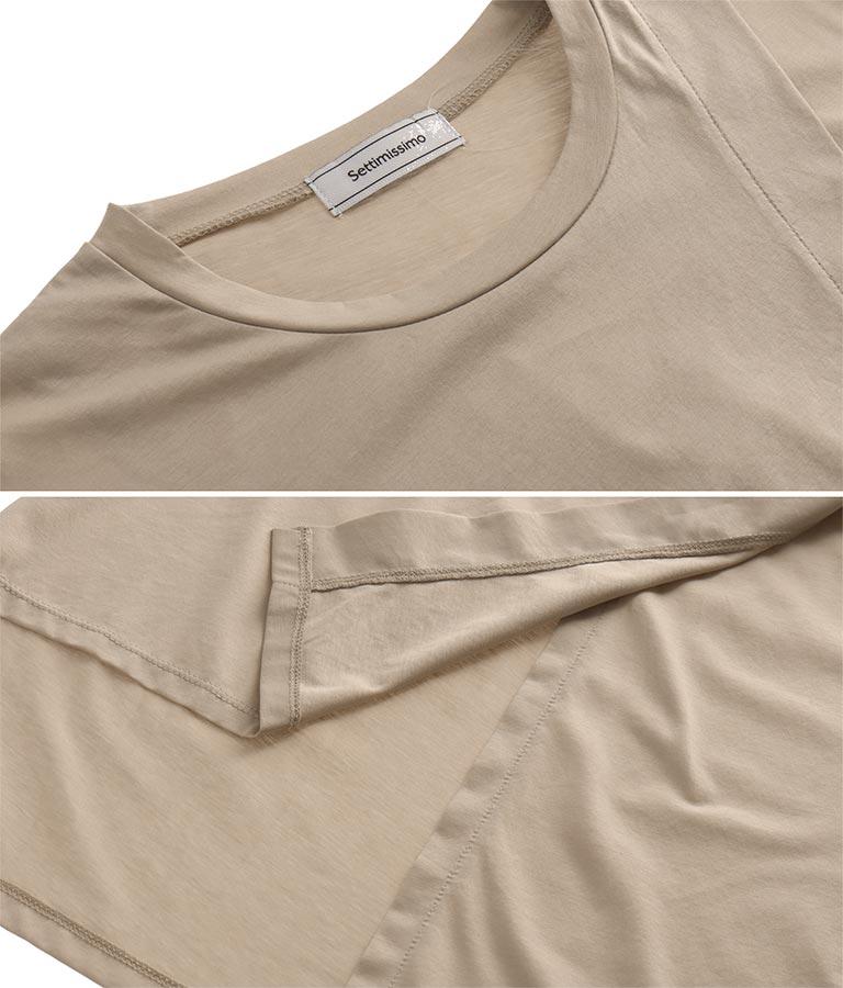 シルケット天竺アシンメトリーデザインロンT(トップス/Tシャツ) | Settimissimo