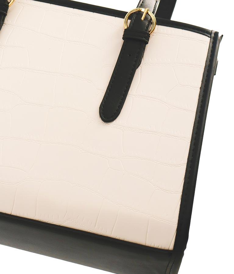 モノトーンコントラストクロコ調トートバッグ(バッグ・鞄・小物/トートバッグ) | anap Latina