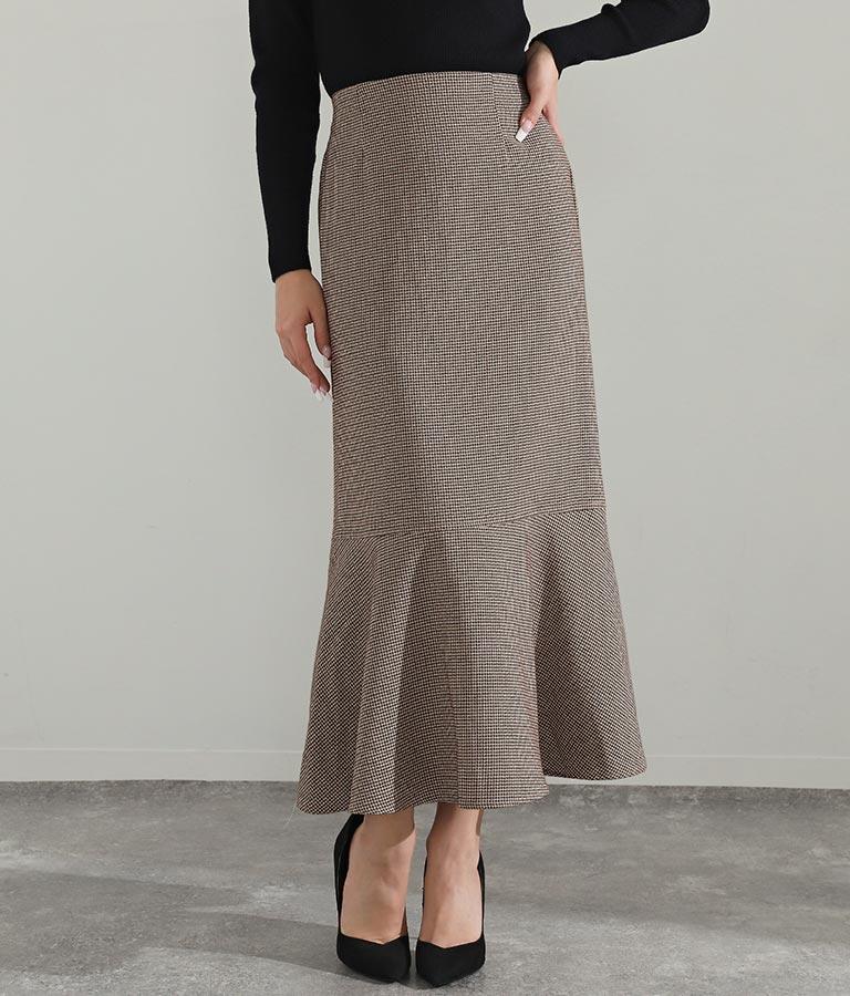 ブラウンチェックマーメイドスカート