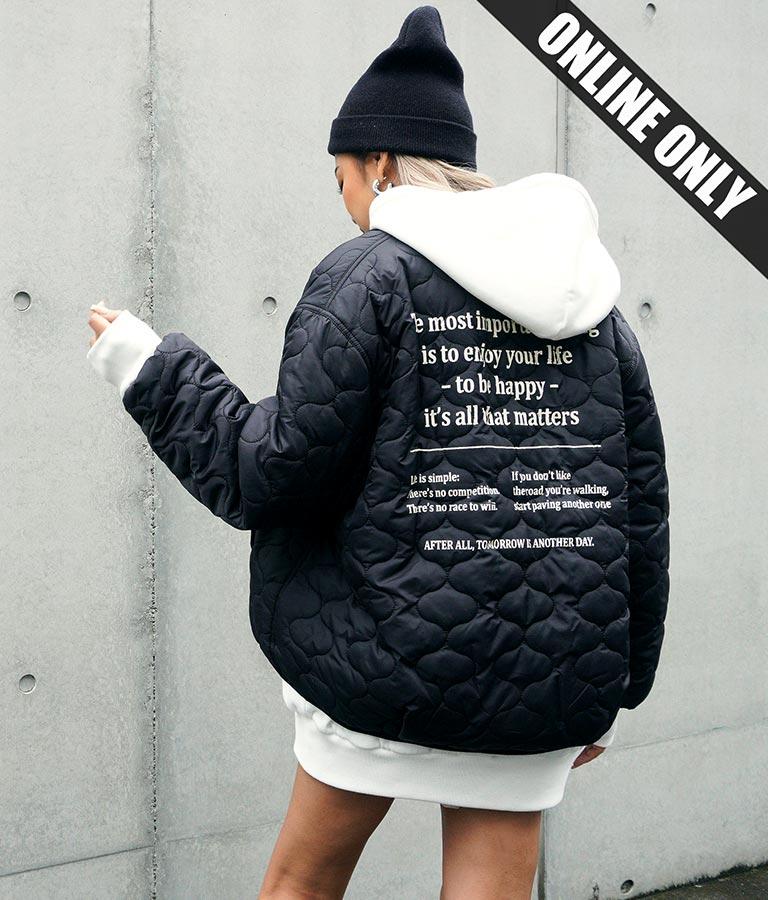バックプリントキルティング中綿ジャケット